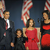 President-elect Barack Obama and family members appear on stage for  his victory speech at his election party in Chicago November 4, 2008.